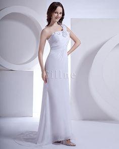 Eine Schulter Sanduhr Bogen Schleppe Rückenfreies Plissiertes Brautkleid