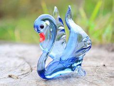 Blue Glass Swan Figurine Bird Blown Miniature Glass | Etsy Animal Decor, Glass Paperweights, Black Decor, Glass Collection, Kids Gifts, Paper Weights, Pet Toys, Swan, Birthday Gifts