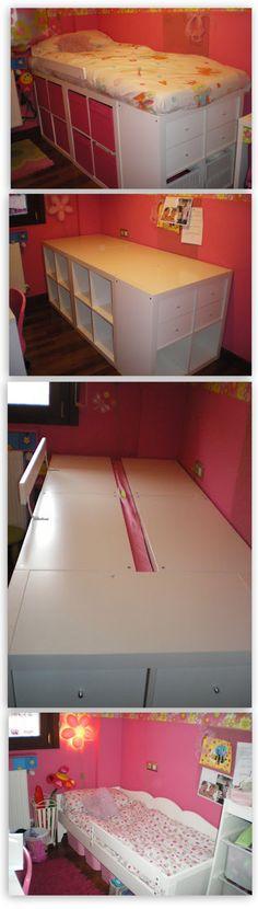¿Cómo se hace una cama con varias estanterías Expedit de Ikea? ¡Es muy fácil!