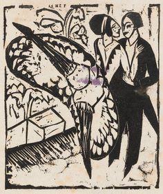 :::: PINTEREST.COM christiancross :::: Ernst Ludwig Kirchner (1880 -1938), 1912, Schleudertanz (Spin dance), woodcut.