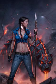 Guerrera con Tigre  de fuego Wonder Woman, Frames