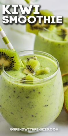 This tasty kiwi smoothie is simple to make and is the ideal healthy snack. With pineapple and orange juice, it's a super sweet way to enjoy nutritious kale! #spendwithpennies #kiwismoothie #breakfast #snack #drink #recipe #pineapple #healthy #kale #orange #simple #howto #make Kiwi Smoothie, Strawberry Banana Smoothie, Smoothie Prep, Green Smoothie Recipes, Delicious Recipes, Tasty, Yummy Food, Eating Healthy, Healthy Snacks