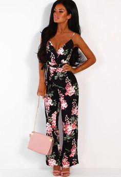9d215bfb150 French Focus Black Floral Split Leg Wrap Jumpsuit - 6. Pink Boutique UK