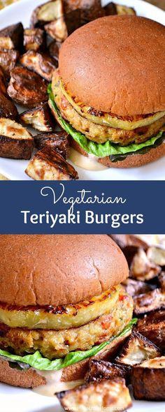 Vegetarian Teriyaki Burgers ... this easy vegetarian burger recipe is simply mouthwatering! Made with delicious, healthy ingredients like quinoa, chickpeas, veggies, and topped with a slice of juicy pineapple and a simple teriyaki sauce. Yum! | Hello Little Home