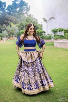 Blue on the mehendi? Might not strike you as 'the mehendi shade', as most brides opt for green or yellow, but we are seeing more and more brides pick this offbeat bridal hue on the mehendi, and lookin. Mehendi Outfits, Bridal Outfits, Lehenga Designs, Lehenga Blouse, Lehenga Choli, Saree Gown, Indian Lehenga, Indian Gowns, Indian Wear