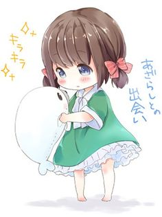 Kawaii chibi girl with cute stuffed seal . Manga Anime, Manga Kawaii, Loli Kawaii, Cute Anime Chibi, Kawaii Chibi, Kawaii Art, Kawaii Anime Girl, Anime Art, Manga Cute
