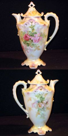 R.S. Prussia Chocolate Pot Red/Pink Roses
