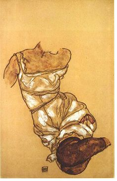 Egon Schiele Female Torso with Underwear and Stockings 1917