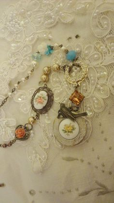 Assemblage Necklace Mori Girl Locket Cameo by BerthaLouiseDesigns,  This sweet necklace sold...but many more designs are listed and are on their way... stop on by the shop  and say Hi.... also, here is my coupon code BERTHA for 10% off anything that might tickle your Mori Girl fancy....