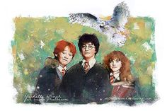 """The Trio """"…the world isn't split into good people and Death Eaters. We've all got both light and dark inside us. What matters is the part we choose to act on."""" Artist: Michelle's world of art Harry Potter Universal, Harry Potter World, Welcome To Hogwarts, Harry Potter Artwork, Ron And Hermione, Drawing Challenge, Cool Paintings, Deviantart, Fantastic Beasts"""