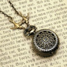 Small Pocket Watch Necklace by ragtrader on Etsy, $28.00
