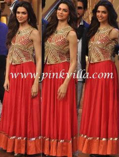 Deepika Padukone in an Arpita Mehta mirrorwork vest and red silk anarkali.