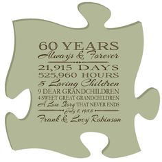 Personalized 60th anniversary gift for him,60th anniversary gift for her,Special dates to