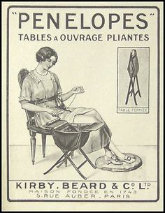 PUBLICITE PENELOPES TABLE A OUVRAGE COUTURE AD 1919