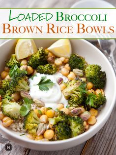 Roasted broccoli rice bowls with chickpeas and a tangy yogurt sauce. A healthy but filling lunch or dinner option!