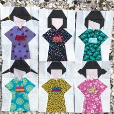Adorable Kokeshi dolls made from the Kokeshi quilt block pattern by BlossomHeartQuilts.com