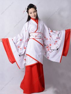 Women's Silk Cotton Curved hem dress Wide sleeves Embroidery Han Dynasty Hanfu Clothing - USD $ 343.00
