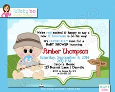 These cute fishing baby shower invitations are so unique and fun! These would be great for the baby shower of an adventurous, outdoor couple and would be perfect for a couples baby shower! A simple