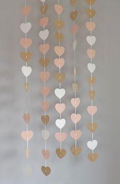 5 rosa brillo de oro y papel blanco corazón guirnaldas