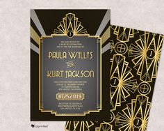 Art Deco Wedding invitations, 1920s, Hollywood Glam, Old Hollywood, Great Gatsby Theme, Retro, Vintage, Glamour, Classy, RSVP, Menu, Golden by coprinted on Etsy https://www.etsy.com/listing/529981319/art-deco-wedding-invitations-1920s