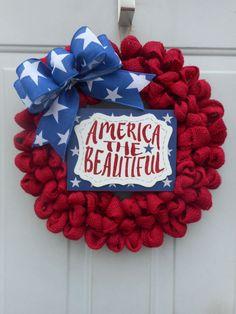 Patriotic wreath Patriotic burlap wreath by ChloesCraftCloset