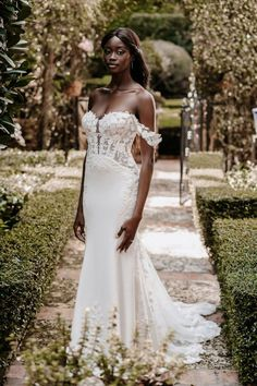 9860 by Allure Bridals details detachable floral lace sleeves with a see through bodice and trailing lace down to the train Crepe Wedding Dress, Wedding Dress Sizes, Bridal Dresses, Girls Dresses, Flower Girl Dresses, Bridesmaid Dresses, Allure Couture, Bridal And Formal, Formal Gowns