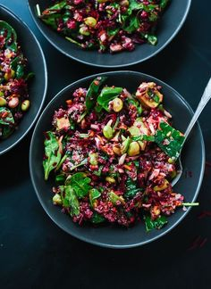 Reset with this healthy superfood salad featuring raw beets, carrot, quinoa, spinach, edamame and avocado. It& as colorful as it is nutritious! Beet Salad Recipes, Healthy Recipes, Healthy Salads, Vegetarian Recipes, Healthy Eating, Cooking Recipes, Clean Eating, Weeknight Recipes, Spinach Recipes