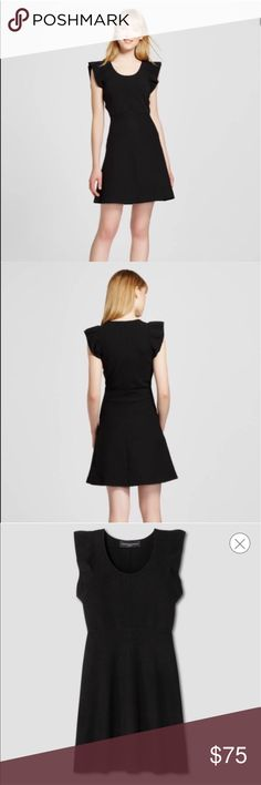 Victoria Beckham for Target LBD Brand new with tag. Black knit dress with ruffle sleeves. Victoria Beckham Dresses Midi