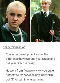 Trueee but not only that. The chamber of secrets was released in 2002 and the prisoner of Azkaban was in 2004 so puberty hit Tom hard in those 2 years hahaha #gloupdoneright