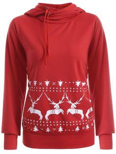 Elk Print Christmas Pullover Hoodie