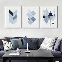 3 Piece non encadrée moderne abstrait art mur géométrique poster imprimé bleu toile nordique pour salon Maison Decor