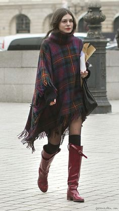 Plaid blanket, red leather boots