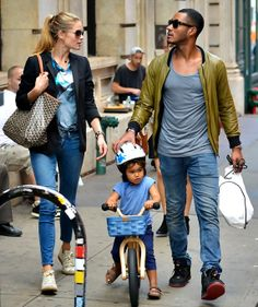 Doutzen Kroes and Sunnery James with their son Phyllon Joy out in New York City. 10/06/13