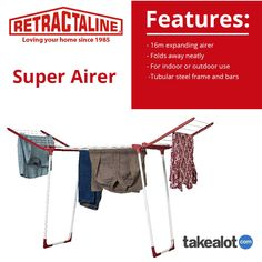The @retractaline Super #Airer is a 16m expanding #Airer perfect for inside and outside use. Perfect for your pocket @TAKEALOT. Click below to get yours today! Plastic Components, Folding Laundry, Clothes Dryer, Love Your Home, Tubular Steel, South Africa, Pocket, Stuff To Buy