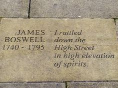 "One of my favourite quotes from outside the #WritersMuseum in #Edinburgh. From James Boswell ""I rattled down the High Street in high elevation of spirits. #cityofliterature"