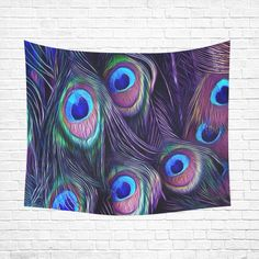 "Peacock Cotton Linen Wall Tapestry 60""x 51"""