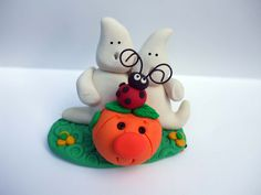 Halloween ghosts with pumpkin and lady bug made from polymer clay handmade. $9.00, via Etsy.