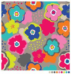Floral seamless vector pattern. Brush style flowers background.