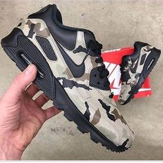 Items similar to Camouflage Nike Air Max 90 - Custom Painted Sneakers 'Desert Camo on Etsy Nike Air Max, Air Max 90, Jordan Nike, Jordan 1, Nike Free Shoes, Nike Shoes, Sneakers Nike, Sneakers Women, Roshe Shoes