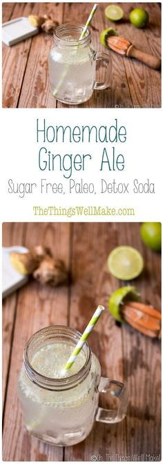 Surprise your senses with this healthy, sugar free, homemade ginger ale. It's a fun, refreshing, carbonated detox water that will curb your cravings for not so healthy drinks. via @thethingswellmake