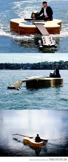 Funny pictures about Awesome Guitar Boat. Oh, and cool pics about Awesome Guitar Boat. Also, Awesome Guitar Boat photos. Music Guitar, Cool Guitar, Acoustic Guitar, Star Trek Phaser, Vive Le Vent, Custom Guitars, Unique Guitars, Bass Boat, Beautiful Guitars