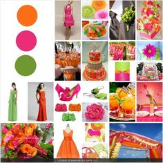 Pink, Green, and Orange