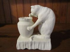 Antique-CAT-Figurine-Match-Holder-Parian-Ware-Rare-White-Bisque-Vintage-Figure