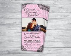 SAVE THE DATE Bookmark Shabby Chic Lace Picture Photo Boho Vintage Pink Grey Mint Teal Wedding Engagement Announcement Invitation Printed
