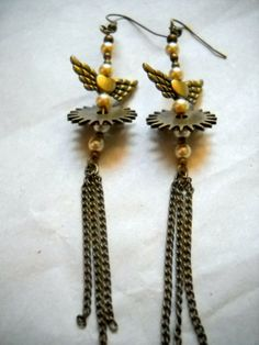 Distinctive Victorian Steampunk Earrings 'Steamlined' by BarbwireCreations, $17.50