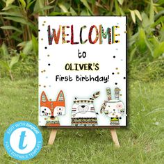 Tribal Wild One Welcome Sign, Boho Woodland Animals, Party Instant Download Printable Template Editable YOU PRINT Wild Ones, Woodland Animals, Party Printables, Birthday Celebration, Welcome, Save Yourself, First Birthdays, Printable Templates, Creative