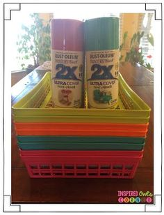Spray painting Target Dollar section baskets to match classroom decor!