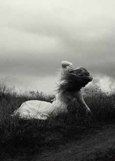 Photography Women--The wind, the clouds and Her. Imagenes Dark, Monochrome, Fantasy Photography, Sadness Photography, Photography Women, The Fault In Our Stars, Black N White Images, Dark Art, Black And White Photography