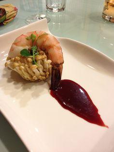 Sous Vide shrimp in a mushroom forest...Blood orange sauce...