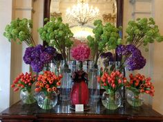"""Colourful display of viburnum, hydranga, tulips and the gorgeous """"All For Love"""" roses! Floral Bouquets, Wedding Bouquets, Wedding Flowers, Tulip Festival, Tulips, Wrapping, Glass Vase, Floral Design, Roses"""